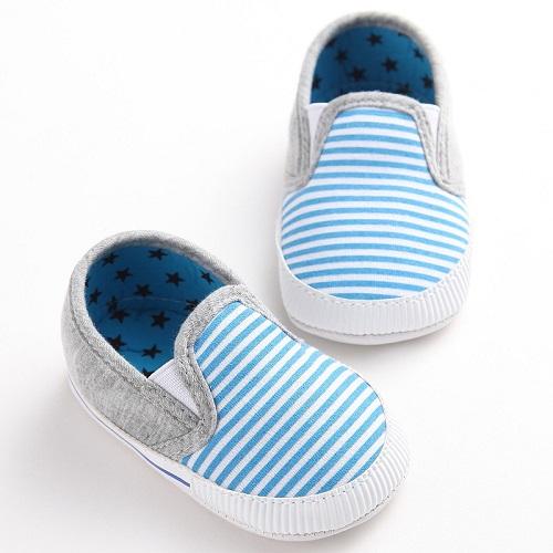 Baby Instappers Blauw Gestreept bootschoenen