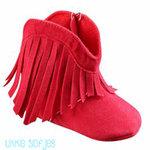Baby Laarzen rood met franjes