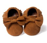 Baby Mocassin Ribbon Suede Brown