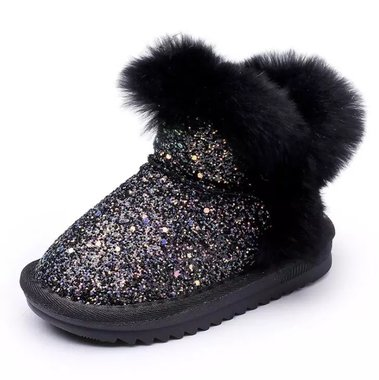 Baby Snowboots Glamour Black Maat 22