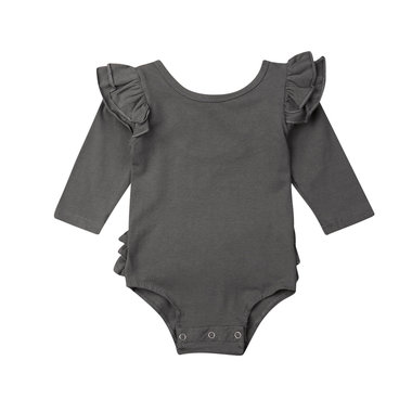 Baby Romper Ruffles Grey