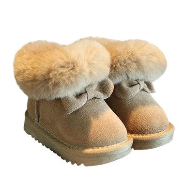 Baby Leren Winter Laarzen met strik Maat 19-21