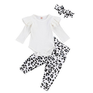 Baby 3-delig Kledingset Leopard White Maat 80