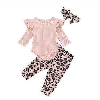 Baby 3-delig Kledingset Leopard Pink Maat 70&80