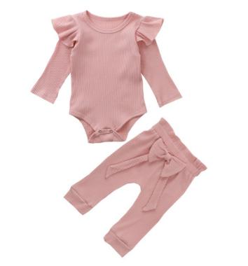 Baby Kledingset Geribd Katoen Pink Maat 70