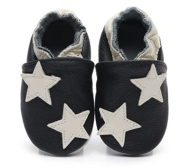 Leren Babysloffen Stars Maat 18&20