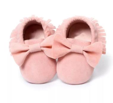 Baby Mocassin Ribbon Pink Maat 17&19