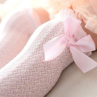Baby Kniekousen Roze met Strik 0 - 2 jaar