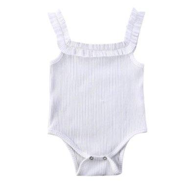 Baby Romper Mouwloos Wit Maat 60&70