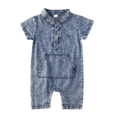 Baby Romper Denim Blue Maat 70