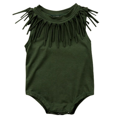Baby Romper Fringe Groen