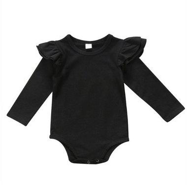 Baby Romper Ruches Zwart Maat 70-90