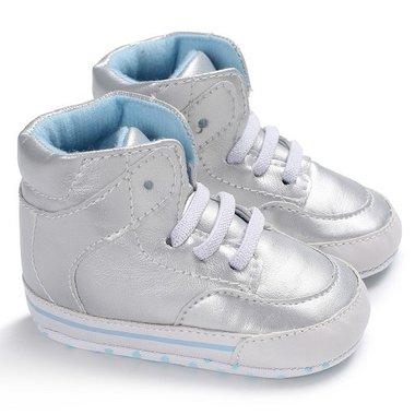Baby Sneaker Hoog Silver Maat 19
