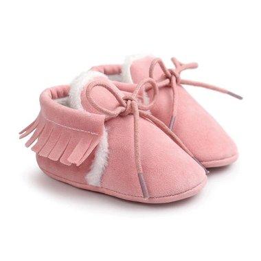 Baby Mocassin Gevoerd Roze Maat 18-20
