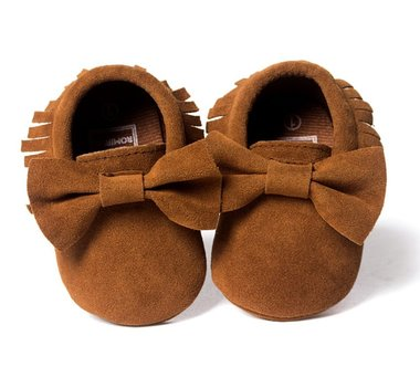 Baby Mocassin Ribbon Suede Brown Maat 19-20