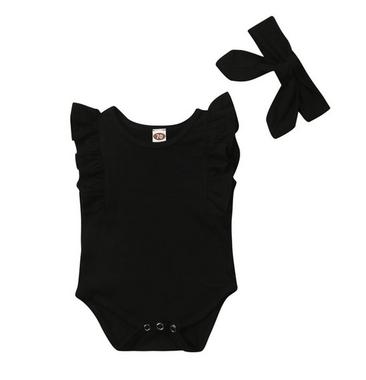 Baby Romper Zwart met haarband