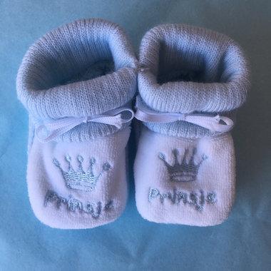 Babyslofjes Newborn Blauw-Wit