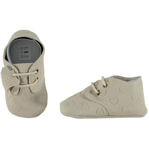 XQ Leather Little Shoes Hearts White