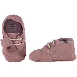 XQ Leather Little Shoes Hearts Pink