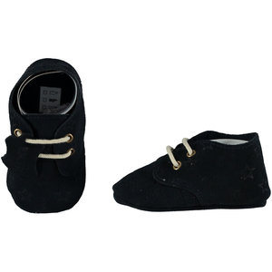 XQ Leather Little Shoes Stars Navy