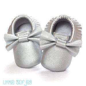 Baby Mocassin Ribbon Silver