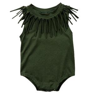 Baby Romper Groen met franjes