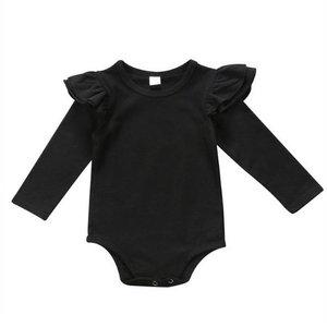 Babykleding 80.Baby Romper Ruches Zwart Mt 70 80